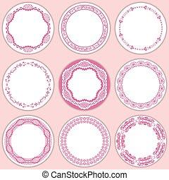 9 feminine labels set