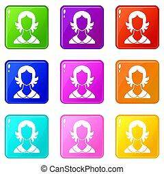 9, femme, ensemble, icônes
