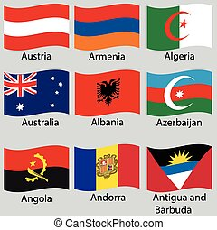 9 flags of world. Vector set.