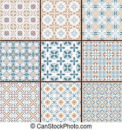9, floral, seamless, motifs