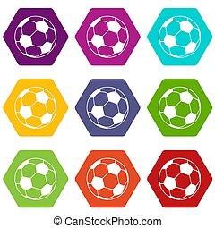 9, football, ensemble, balle, icônes