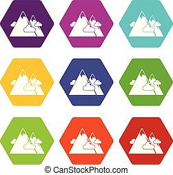 9, góry, komplet, wektor, ikony