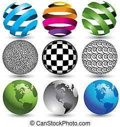 9 globes in editable vector format