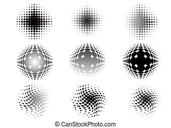 9, gráfico, descolorarse, elementos, circular