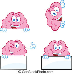 9, hjärna, tecknad film, kollektion, maskot