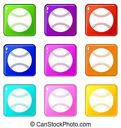 9, ikony, baseball, komplet
