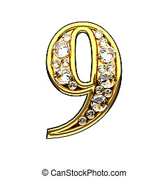 9 isolated golden letters with diamonds on white