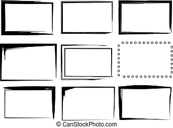 9 Isolated Vector Border Frames - A collection of 9 black...