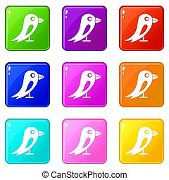 9, jogo, social, pássaro, rede