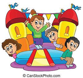 9, juego, niños, tema, imagen