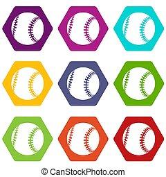 9, komplet, baseball, ikony