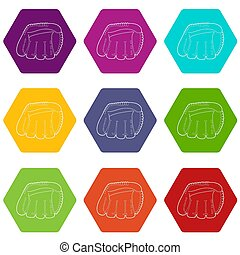 9, komplet, baseballowa rękawiczka, ikony