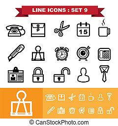 9, ligne, ensemble, icônes