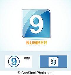 9, logotipo, nove, numero