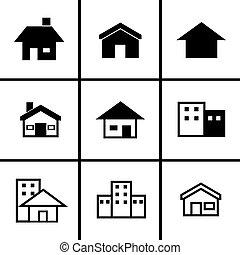 9, maisons, ensemble, icônes