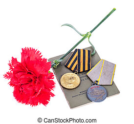 9 May background with medals of Great patriotic war, red...