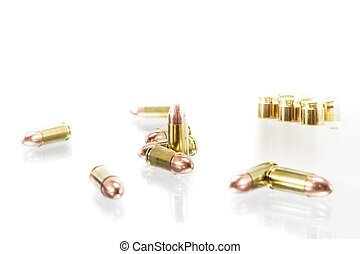 9 mm. bullets on white background