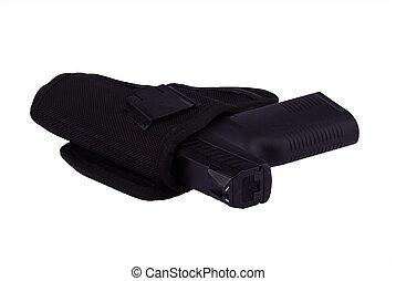 9 mm pistol in holster - Black 9 mm pistol in holster
