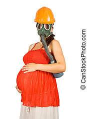 pregnant woman in hardhat and gas-mask