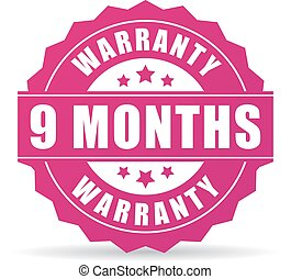 9 months warranty vector icon on white background
