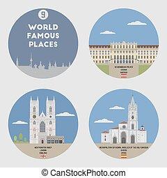 9, mundo, conjunto, famoso, places.