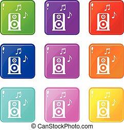 9, musique, ensemble, speacker, portable