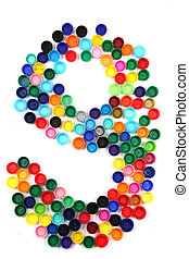 9 - number from the plastic caps