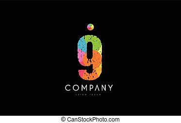 9 number grunge color rainbow numeral digit logo