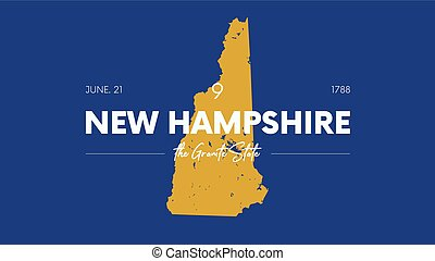 9 of 50 states of the United States with a name, nickname, and date admitted to the Union, Detailed Vector New Hampshire Map for printing posters, postcards and t-shirts