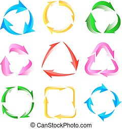 9 of color arrows pictogram refresh reload rotation loop sign set