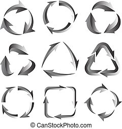 9 of gray arrows pictogram refresh reload rotation loop sign set.