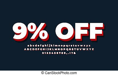 9% off sale 3d text white red