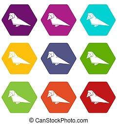 9, origami, ensemble, oiseau, icônes