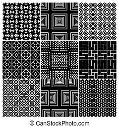 9, patrones, seamless, (vector)