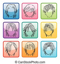 9, peinado, botones, conjunto