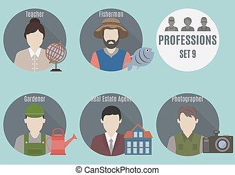 9, personas., conjunto, profesión