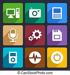 9, plano, multimedia, conjunto, iconos