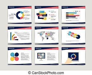 9, presentazione, affari, templates., infographics, per,...