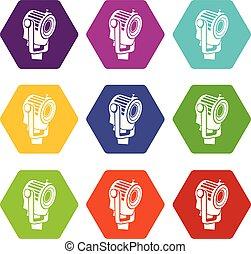 9, projecteur, ensemble, vecteur, icônes