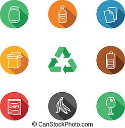 9, reciclagem, materiais, cobrança, ícones