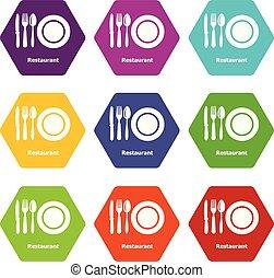 9, restaurant, ensemble, vecteur, icônes
