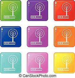 9, router, wifi, satz, heiligenbilder