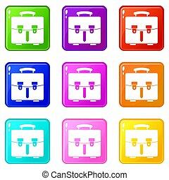 9, sac, diplomate, ensemble, icônes