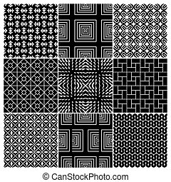 set of 9 seamless monochrome patterns, perfectly tile-able both horizontally and vertically; scalable and editable vector illustration;