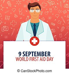 9 September. World First Aid day. Medical holiday. Vector medicine illustration.