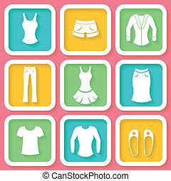 9, set, abbigliamento, colorito, icone