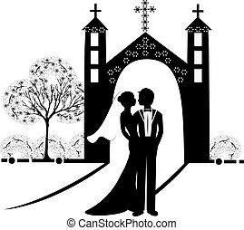 9, silhuet, bryllup