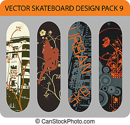 9, skateboard, design, satz