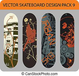 9, skateboard, design, satz