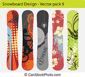9, snowboard, disegno, pacco